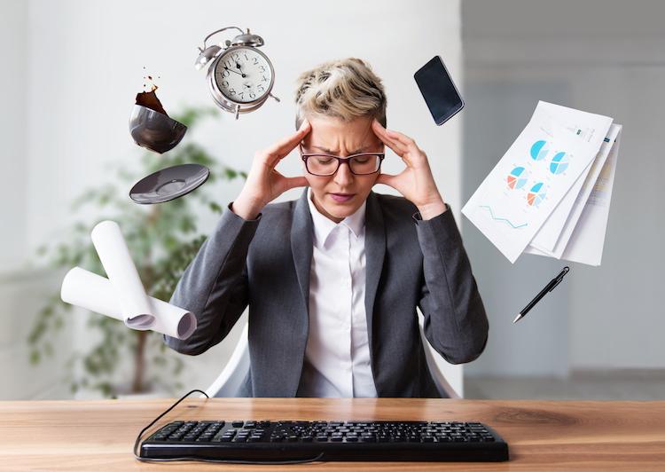 Businesswoman struggling